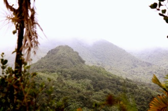El Yunque's cloud-covered peaks.