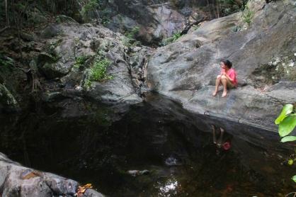 Stagnant rainwater pool.