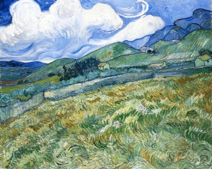 """Wheatfield with Mountains in the Background."" 1889.  Ny Carlsberg Glyptotek, Copenhagen."